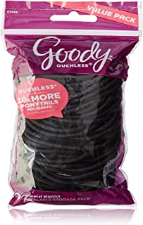 Goody Ouchless Elastic Thick, Black, 75 Count