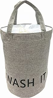 TIBAOLOVER 19.7 Inch Large Size 100% Natural Linen Laundry Hamper Laundry Basket with Long Handles Perfect for College Dorms,Kids Room & Bathroom(malange Grey)