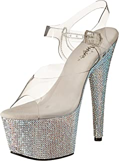 Pleaser Fabulicious Lip 108DM Clear Ankle Strap Rhinestone Platform Dress Sandal
