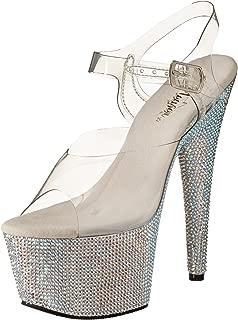 pleaser Women's Bejeweled-708DM/C/SMCRS Platform Sandal,Clear/Silver