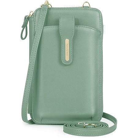 Pomelo Best Handytasche zum umhängen Damen Schultertasche Handy Geldbeutel mit Kartenfächer, abnehmbare Schultergurt und Handschlaufe für Handy unter 7 Zoll (Grün)