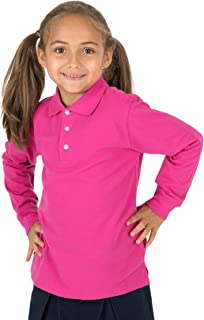 Leveret Kids & Toddler Boys Girls Long Sleeve 100% Cotton Uniform Polo Shirt Variety of Colors (Size 2-14 Years)