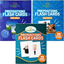 CreateFun Prepositions Flash Card Bundle Vol 1, 2 & 3 - 150 Educational Photo Cards with Learning Games - for Speech Therapy Materials, English Language Learning, Adults, ESL Teaching Materials