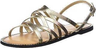 Metallic Strappy Flat Sandal, Sandalia con Pulsera para Mujer