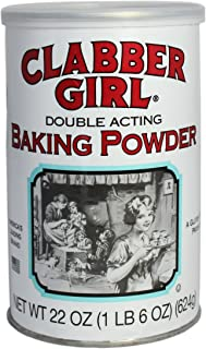 Clabber Girl Baking Powder - Gluten Free, Vegan, Vegetarian, Double Acting Baking Powder in a Resealable Can with Easy Measure Lid, Kosher, Halal - 22 oz can (1)