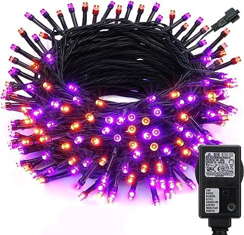 Qedertek Decoración Halloween, 20M 200LED Cadena de Naranja Púrpura Luces, Guirnalda de Luces Halloween 8 Modos, Impe...