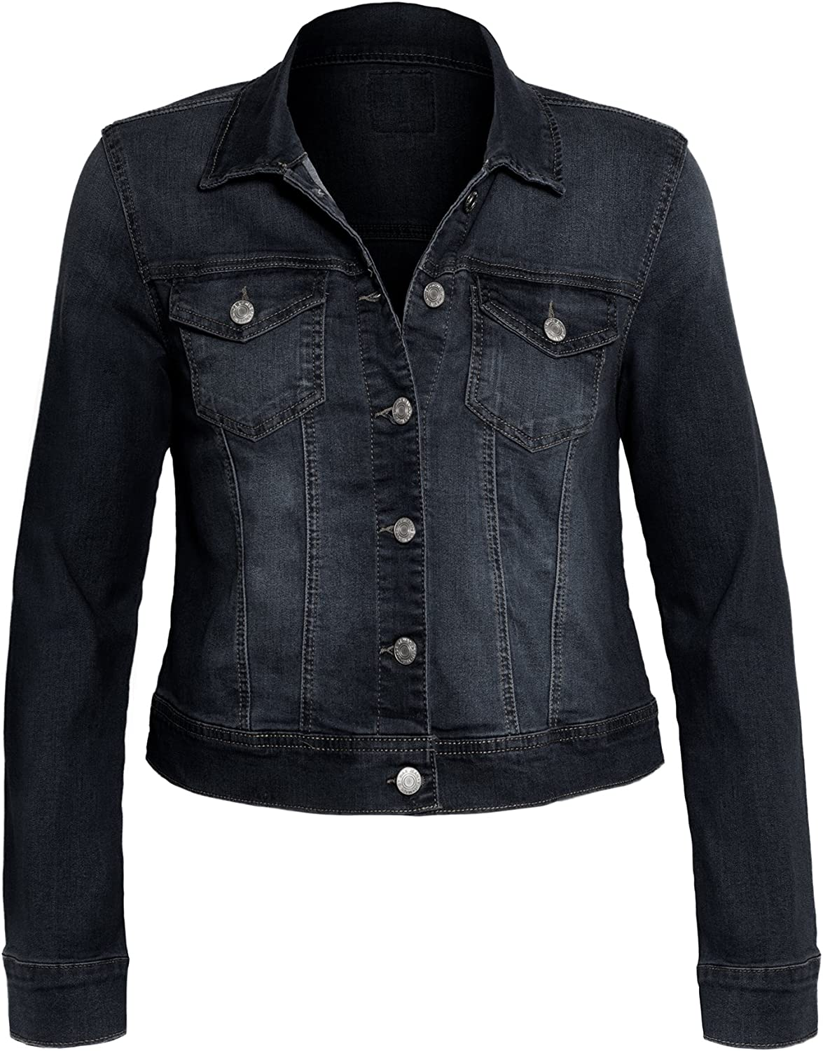 Hot From Hollywood Women's Button Down Long Sleeve Casual Plus Size Classic Outerwear Denim Jacket