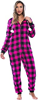 Buffalo Plaid Adult Onesie/Sherpa Lined Hoody/One Piece Pajamas