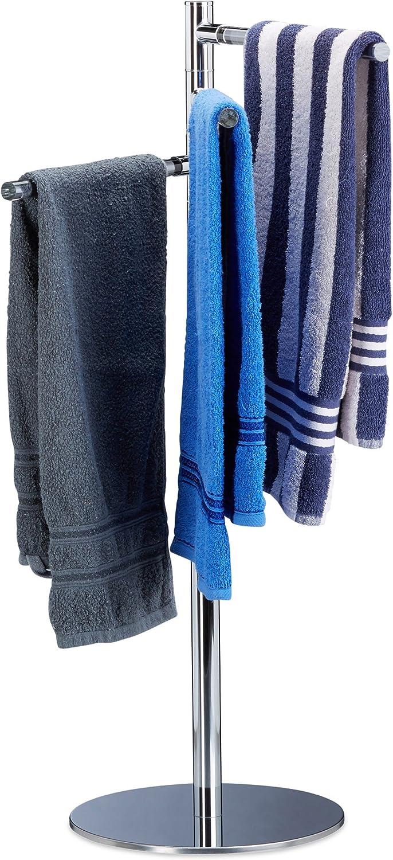Relaxdays Handtuchhalter freistehend, Handtuchstnder mit 3 schwenkbaren Armen, Edelstahl, HxBxT  90x52x30,5cm, silber
