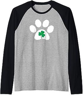 Paw Print Dog Owner Lover Shirt St. Patrick's Day Shamrock Raglan Baseball Tee
