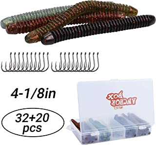 RUNCL Anchor Box - Soft Stick Baits, 20/30/35/40/52/60pcs Wacky Worms Neko/Senko Style, Soft Stick Worms Ribbed Design/Tapered Tail, Wacky Stick - 4/5in, Several Proven Colors
