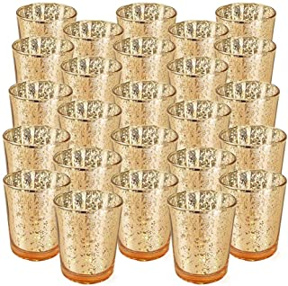 """Just Artifacts Mercury Glass Votive Candle Holder 2.75"""" H (25pcs, Speckled Gold) -Mercury Glass Votive Tealight Candle Hol..."""