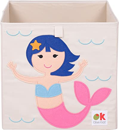 Wildkin Olive Kids 13 Inch Storage Cube,  Perfect for Promoting Organization,  Measures 13 x 13 x 13 Inches,  Coordinates with Other Room Décor – Mermaids