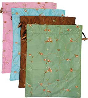 Ouyatoyu 4pcs Embroidered Silk Flower Design Jacquard Travel Bag, Laundry Bags Shoe Bags, Lingerie Bags Underwear Bags for Travel Storage for Men Women Washable Cloth Shoe Bags