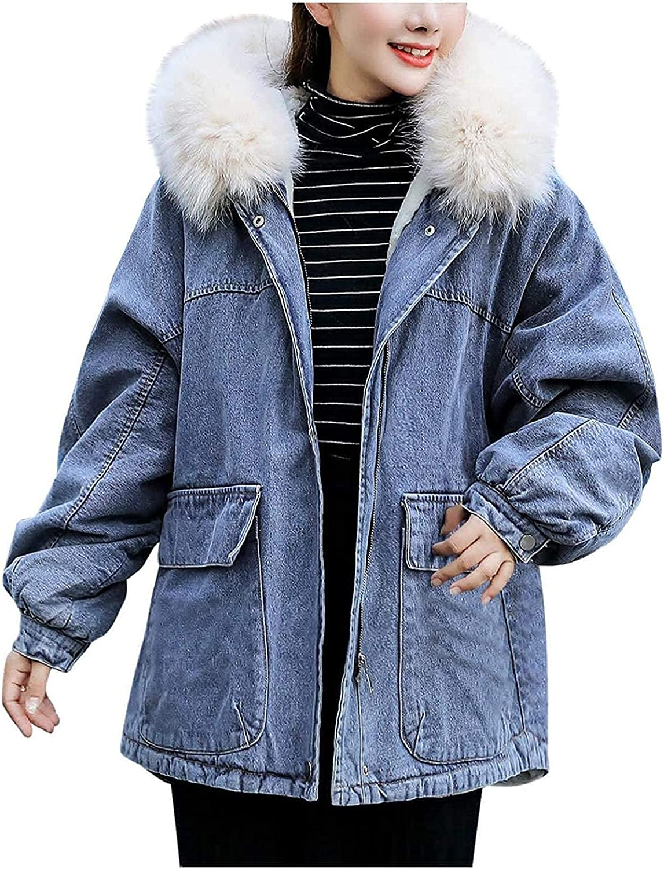 CHENX1NN Jean Jacket Women Winter Coats with Faux Fur Hood, Womens Fashion Warm Thicken Denim Jackets Coat