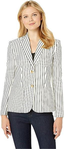 Striped Piqué Blazer