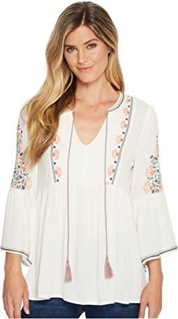Miss Me - Floral Embroidered Bell Sleeve Blouse