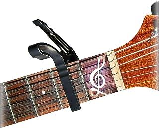 Guitar Capo, Acoustic or Electric Guitar Capo – For 6-Strings-Guitars or Ukulele – Lazea – Premium Quality, Trigger Capo – Quick change, Easy to use – Aluminum, Lightweight – Black
