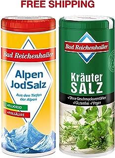 Herbal Salt with Iodine and Folic Acid 90 g + Iodized Table Salt with Fluoride 125 g, Bad Reichenhaller/Germany