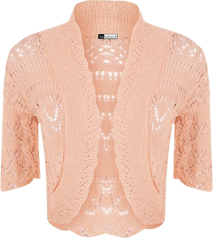 Cima Mode Ladies Plus Crochet Knitted Short Sleeve Bolero Cardigan Top Shrug Sizes 6-20