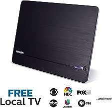 Philips Elite Channel Finder Indoor TV Antenna, Long Range Antenna, Signal Booster Amplifier, Digital, HDTV, Smart TV Compatible, 4K 1080P VHF UHF, 10 ft. Coax Included, Home Décor, Black, SDV3238N/27