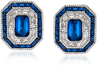 Ross-Simons Simulated Sapphire and .50 ct. t.w. CZ Stud Earrings in Sterling Silver