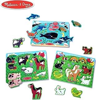 Melissa & Doug Peg Puzzles Set, Farm Animals, Pets, Ocean (Developmental Toy, Easy to Grasp, 3 Peg Puzzles, Animal Illustrations, 6 Pieces in Each)