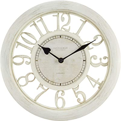 "Equity by La Crosse 20857 11.5"" Delaney Floating Dial Quartz Clock, Antique White"