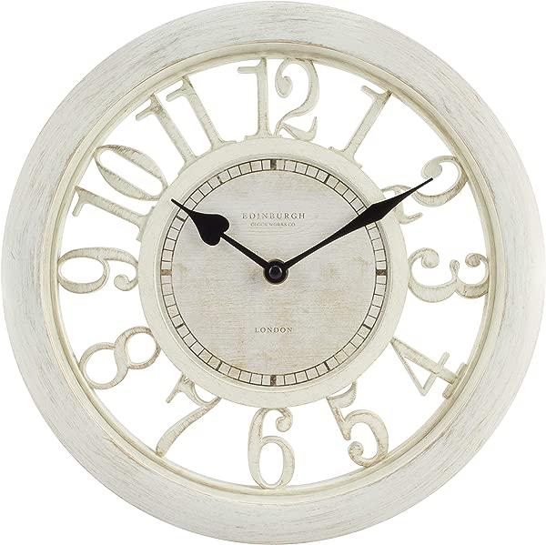 Equity By La Crosse 20857 11 5 Delaney Floating Dial Quartz Clock Antique White