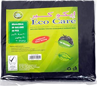 Eco Care Black Garbage Bag - 20 Count, 30 Gallons, 60x90cm