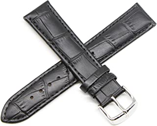 20MM Alligator Grain Genuine Leather Watch Strap 8 Inches Black Silver Fits Excalibur