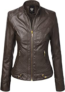 Lock and Love Women's Quilted Faux Leather Moto Biker Jacket