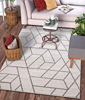 """Well Woven Plaza Geometric Ivory Modern Lines Angles Tiles Shapes Accent Area Rug 4x5 (3`11"""" x 5`3"""") Carpet"""
