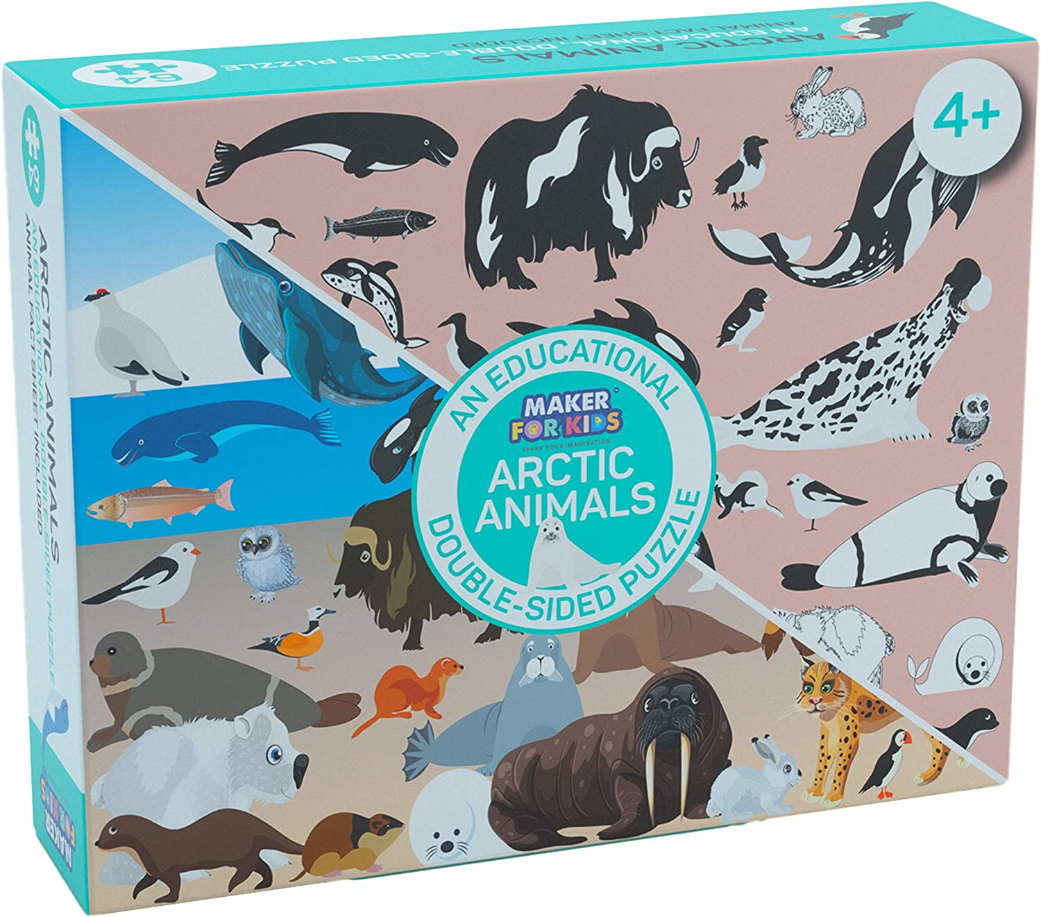 Maker for Finally resale start Kids Arctic Animals I SPY Product Puzzle Double-Sided and Find