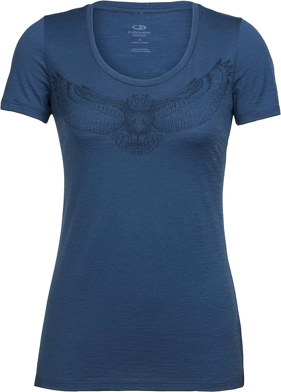 Icebreaker Merino Women's Tech Lite Short Sleeve Scoop Night Owl Graphic Athletic T Shirts
