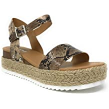 9d676b5f332b Womens Casual Espadrilles Trim Rubber Sole Flatform Studded Wedge Buckle  Ankle .