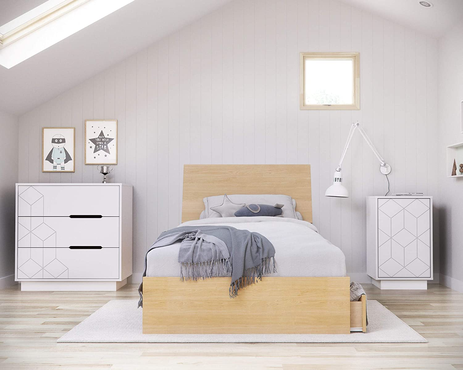 Albatros 4 Piece Baltimore Mall Dedication Twin Size Bedroom Set Maple and Natural White