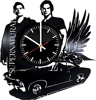 SUPERNATURAL Vinyl Record Wall Clock - Unique Teen Bedroom Wall Decor - Dean Winchester and Sam Winchester - Best Gifts for Girls