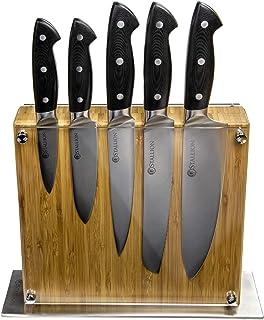 Stallion Professional Juego de cuchillos con bloque de cuchillos - Hoja de acero alemán 1.4116 y mango de G10 GFK