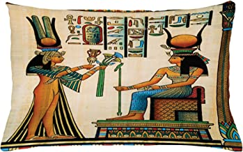 Ambesonne Egyptian Throw Pillow Cushion Cover, Old Egyptian Papyrus Depicting Queen Nefertari with Historical Empire Artwork, Decorative Rectangle Accent Pillow Case, 26 X 16, Beige Orange