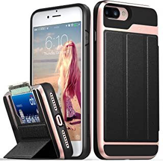 Vena iPhone 8 Plus Wallet Case, iPhone 7 Plus Wallet Case, vCommute (Military Grade Drop Protection) Flip Leather Cover Card Slot with Kickstand Compatible with iPhone 8 Plus and 7 Plus (Rose Gold)