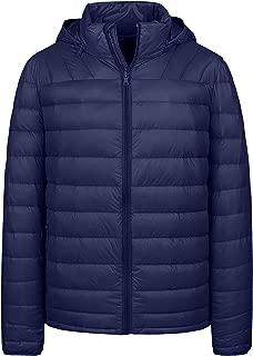 Wantdo Men's Winter Packable Lightweight Down Jacket Coat with Removable Hood