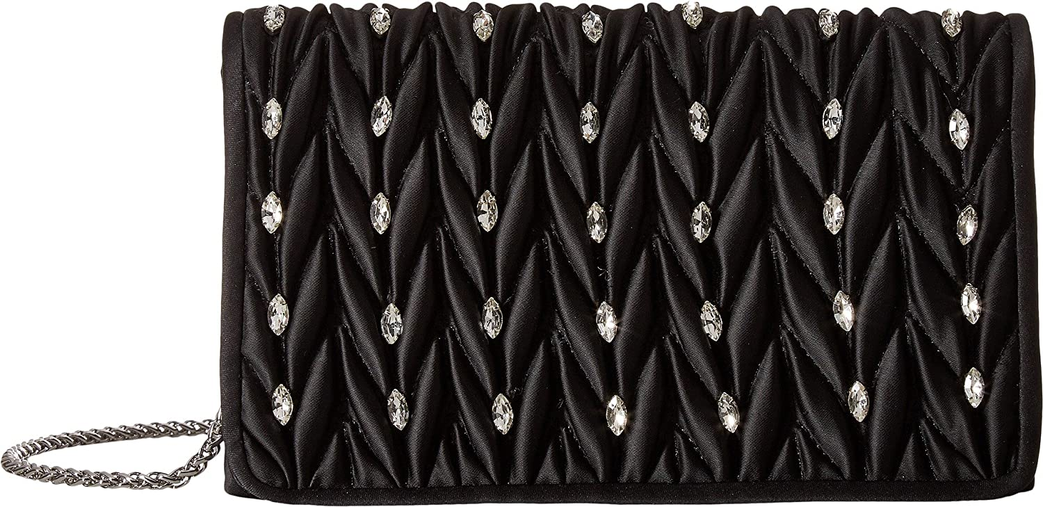 Adrianna Papell Sutton Quilted Flap Small Clutch Black silver Polyester