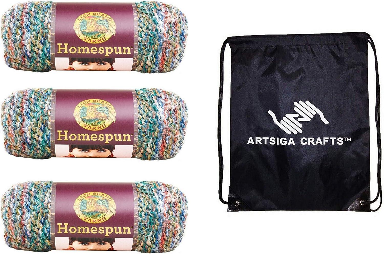 Lion Brand Knitting Yarn Homespun Painted Desert 3-Skein Factory Pack (Same Dye Lot) 790-407 Bundle with 1 Artsiga Crafts Project Bag