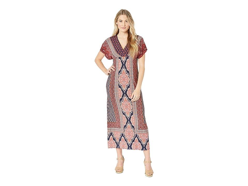 London Times Dolman Sleeve Warp Top Maxi Dress (Navy/Coral) Women