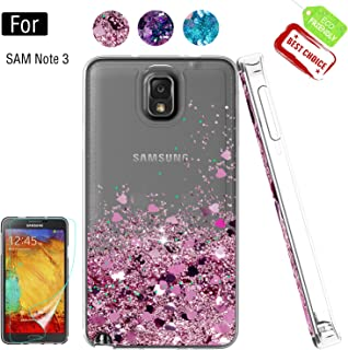 Galaxy Note 3 Phone Case,Galaxy Note 3 Cases with HD Screen Protector for Girls Women, Luxury Glitter Diamond Quicksand Clear TPU Protective Phone Case for Samsung Galaxy Note 3 Pink