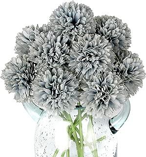 Blooming Paradise 10Pcs Artificial Fake Flower Plants Silk Chrysanthemum Ball Hydrangea Arrangements Wedding Bouquets Decor Home Kitchen Garden Party Table Floral centerpieces DIY (Grey Blue)
