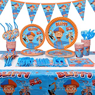 131pcs For Blippi Party Supplies Kit - Blippi Party Favors Birthday Party Decoration Table Cover Plates Cups Napkins Straw...