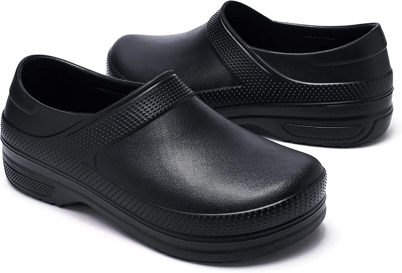 CC-Los Men's Professional Slip Resistant Clogs - Chef Clogs, Restaurant Work Shoe, Doctor Shoe, Garden Work Shoe, Black Oil Resistant Waterproof Safety Work
