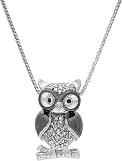 1/10 ct Diamond Perched Owl Pendant in Black Rhodium-Plated Sterling Silver
